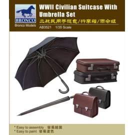 Bronco 1:35 WWII Civilian Suitcase with Umbrella Set