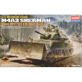 Academy 1:35 M4A3 105mm Sherman with Dozer (Re-Release)