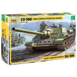 Zvezda 1:35 Soviet SU-100 tank Destroyer harcjármű makett