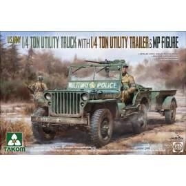 Takom 1:35 US Army Jeep + trailer & MP figure